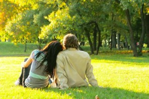 Couple in park enjoying life